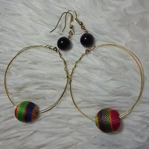 ☄Rainbow Thread Bead Boho Gold Wire  Hoop Earrings